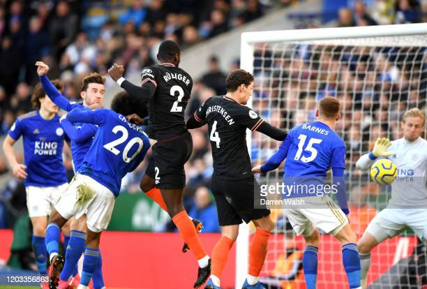 Antonio Rudiger of Chelsea scores his team's first goal during the Premier League match between Leicester City and Chelsea FC at The King Power...