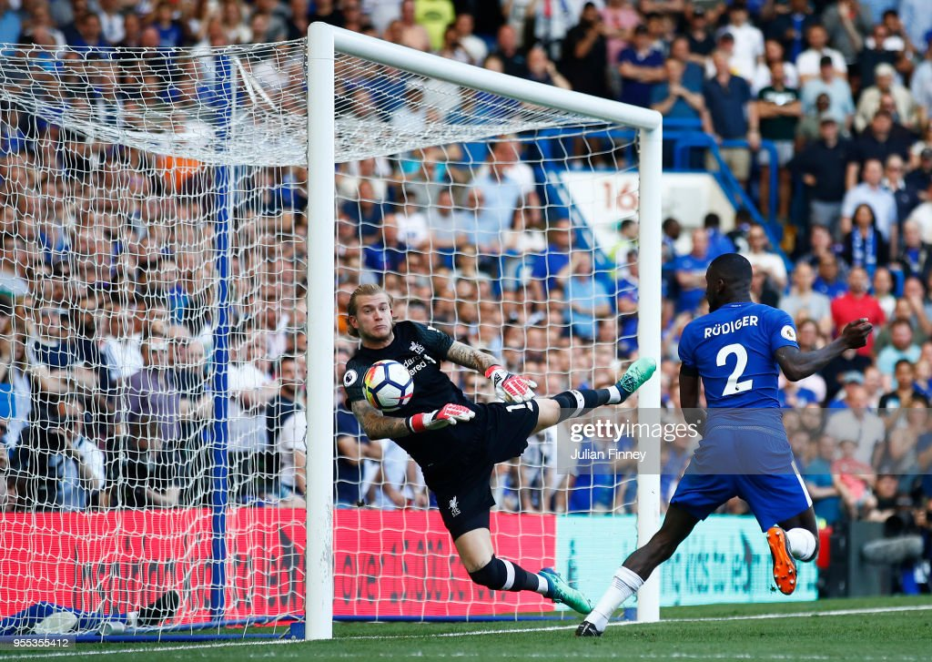 Antonio Rudiger of Chelsea scores past Loris Karius of Liverpool but it is latter dissallowed during the Premier League match between Chelsea and Liverpool at Stamford Bridge on May 6, 2018 in London, England.