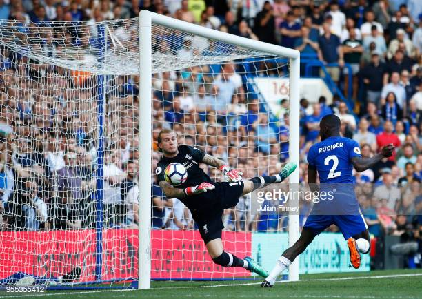 Antonio Rudiger of Chelsea scores past Loris Karius of Liverpool but it is latter dissallowed during the Premier League match between Chelsea and...