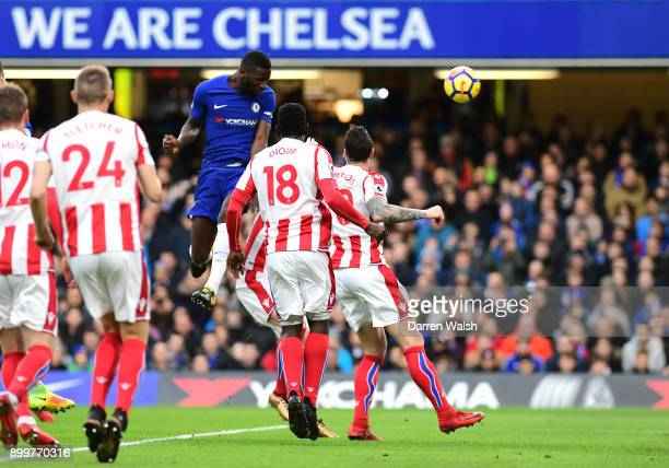 Antonio Rudiger of Chelsea scores the first goal during the Premier League match between Chelsea and Stoke City at Stamford Bridge on December 30...