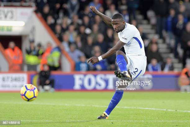 Antonio Rudiger of Chelsea shoots during the Premier League match between AFC Bournemouth and Chelsea at Vitality Stadium on October 28 2017 in...