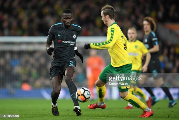 Antonio Rudiger of Chelsea takes on James Maddison of Norwich City during the The Emirates FA Cup Third Round match between Norwich City and Chelsea...