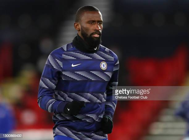 Antonio Rudiger of Chelsea warms up ahead of the Premier League match between Sheffield United and Chelsea at Bramall Lane on February 07, 2021 in...