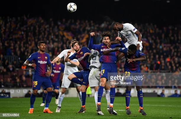 Antonio Rudiger of Chelsea wins a header and it later hits the post during the UEFA Champions League Round of 16 Second Leg match FC Barcelona and...