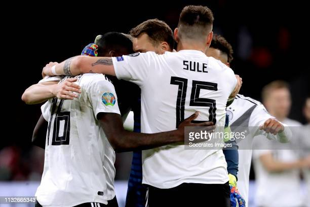 Antonio Rudiger of Germany Manuel Neuer of Germany Niklas Sule of Germany Thilo Kehrer of Germany celebrates the victory during the EURO Qualifier...