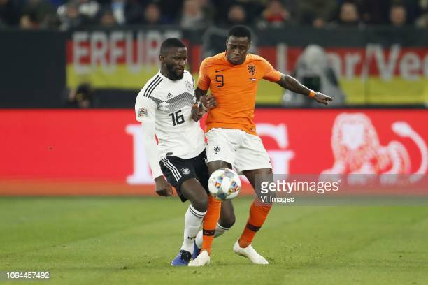 Antonio Rudiger of Germany Quincy Promes of Holland during the UEFA Nations League A group 1 qualifying match between Germany and The Netherlands at...