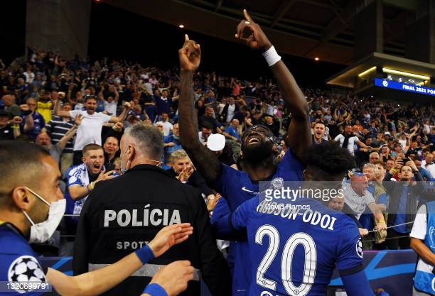 Antonio Ruediger and Callum Hudson-Odoi of Chelsea celebrate with fans following victory during the UEFA Champions League Final between Manchester...