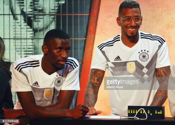 Antonio Ruediger and Jerome Boateng attend the presentation of the new adidas Germany kit for the 2018 FIFA World Cup Russia at The Base on November...