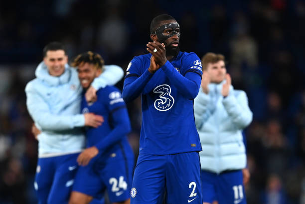 Antonio Ruediger of Chelsea applauds the fans after the Premier League match between Chelsea and Leicester City at Stamford Bridge on May 18, 2021 in...