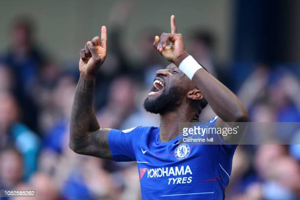 Antonio Ruediger of Chelsea celebrates after scoring his team's first goal during the Premier League match between Chelsea FC and Manchester United...