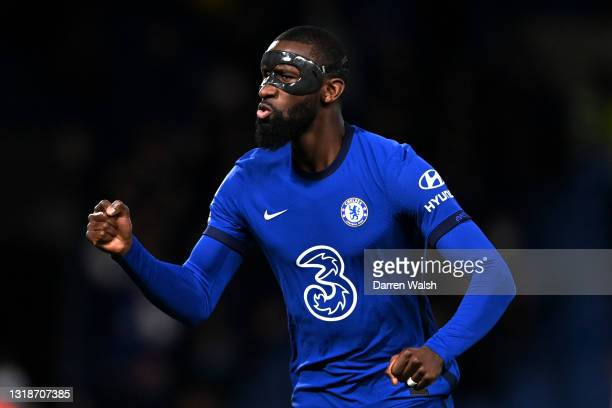 Antonio Ruediger of Chelsea celebrates after scoring their sides first goal during the Premier League match between Chelsea and Leicester City at...