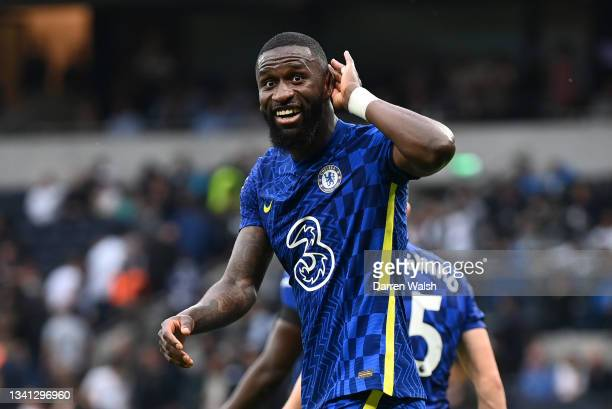 Antonio Ruediger of Chelsea celebrates after scoring their side's third goal during the Premier League match between Tottenham Hotspur and Chelsea at...