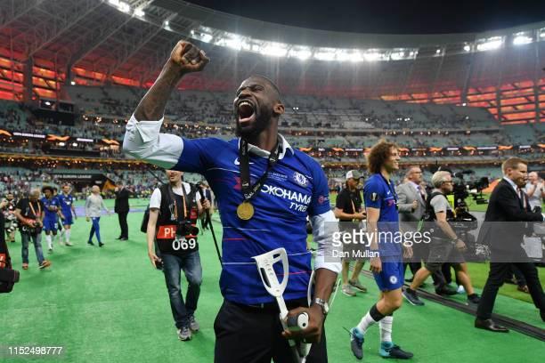 Antonio Ruediger of Chelsea celebrates victory after the UEFA Europa League Final between Chelsea and Arsenal at Baku Olimpiya Stadionu on May 29...
