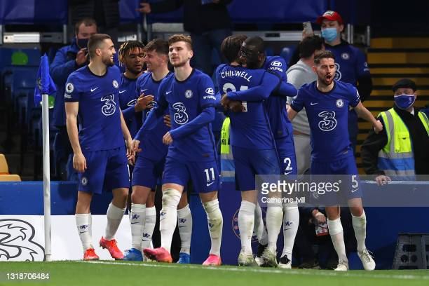 Antonio Ruediger of Chelsea celebrates with Ben Chilwell and team mates after scoring their side's first goal during the Premier League match between...