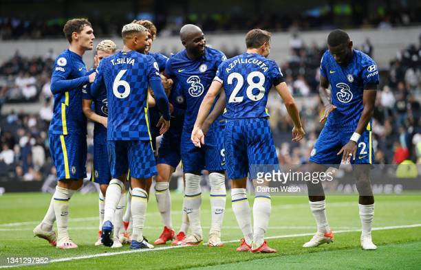 Antonio Ruediger of Chelsea celebrates with teammates after scoring their side's third goal during the Premier League match between Tottenham Hotspur...