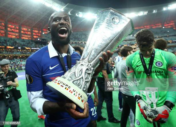 Antonio Ruediger of Chelsea celebrates with the Europa League Trophy following his team's victory in the UEFA Europa League Final between Chelsea and...