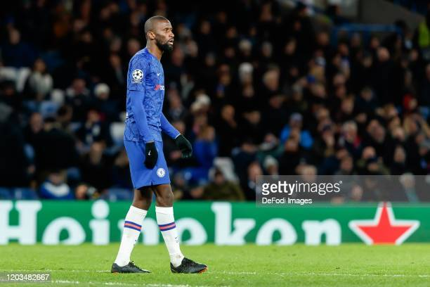 Antonio Ruediger of Chelsea FC looks on during the UEFA Champions League round of 16 first leg match between Chelsea FC and FC Bayern Muenchen at...