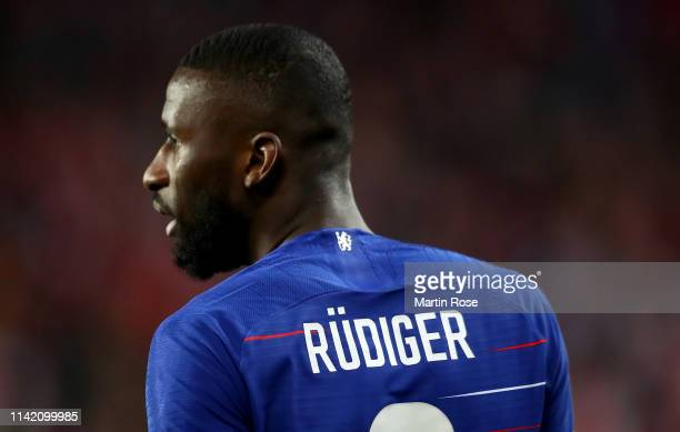 Antonio Ruediger of Chelsea looks on during the UEFA Europa League Quarter Final First Leg match between Slavia Prague and Chelsea at Eden Stadium on...
