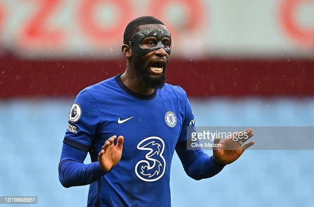 Antonio Ruediger of Chelsea reacts during the Premier League match between Aston Villa and Chelsea at Villa Park on May 23, 2021 in Birmingham,...