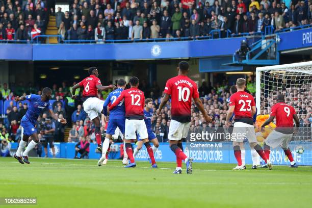 Antonio Ruediger of Chelsea scores his team's first goal during the Premier League match between Chelsea FC and Manchester United at Stamford Bridge...