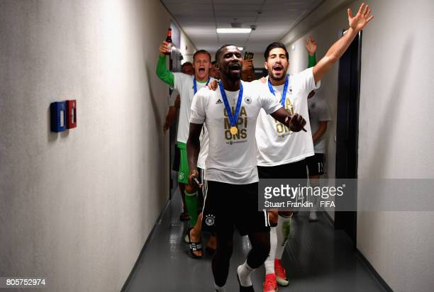 Antonio Ruediger of Germany and Emre Can of Germany celebrate victory after the FIFA Confederations Cup Russia 2017 Final between Chile and Germany...