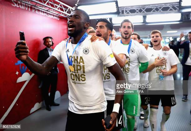 Antonio Ruediger of Germany and his Germany team mates celebrate victory in the tunnel after the FIFA Confederations Cup Russia 2017 Final between...