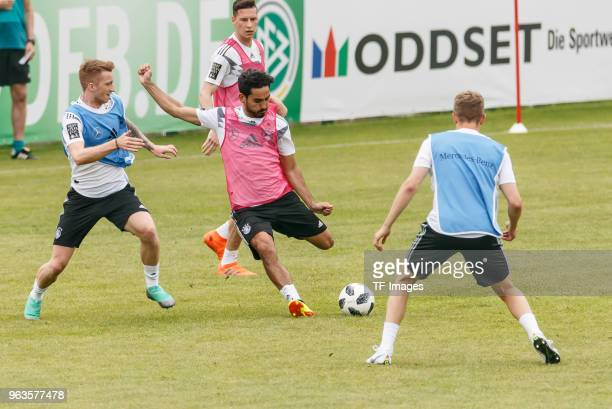 Antonio Ruediger of Germany and Mats Hummels of Germany battle for the ball during day seven of the Southern Tyrol Training Camp on May 29 2018 in...