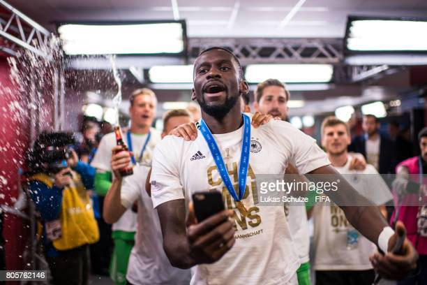 Antonio Ruediger of Germany and team mates celebrate after the FIFA Confederations Cup final match between Chile and Germany at Saint Petersburg...