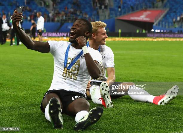 Antonio Ruediger of Germany celebrates after the FIFA Confederations Cup Russia 2017 Final between Chile and Germany at Saint Petersburg Stadium on...