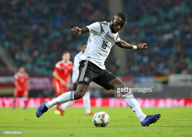 Antonio Ruediger of Germany controls the ball during the International Friendly match between Germany and Russia at Red Bull Arena on November 15,...