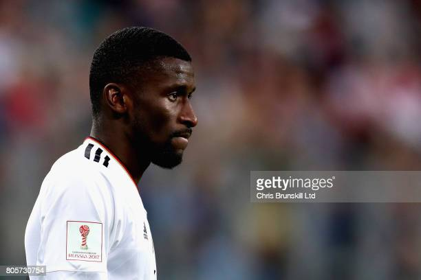 Antonio Ruediger of Germany in action during the FIFA Confederations Cup Russia 2017 Final match between Chile and Germany at Saint Petersburg...