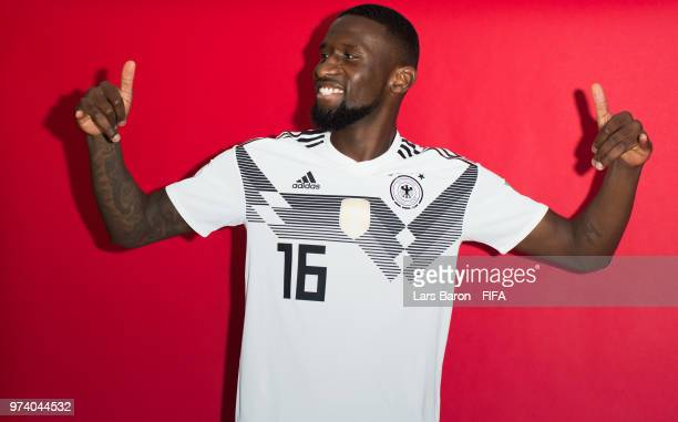 Antonio Ruediger of Germany poses for a portrait during the official FIFA World Cup 2018 portrait session on June 13 2018 in Moscow Russia