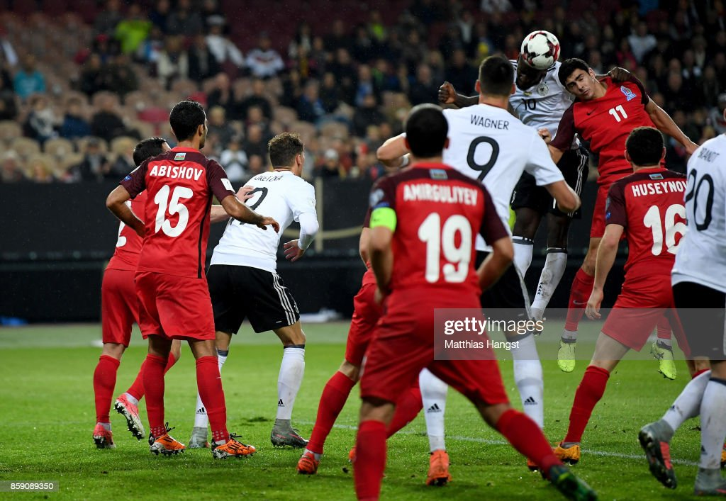 Antonio Ruediger #16 of Germany scores the 3rd goal during the FIFA 2018 World Cup Qualifier between Germany and Azerbaijan at Fritz-Walter-Stadion on October 8, 2017 in Kaiserslautern, Rhineland-Palatinate.