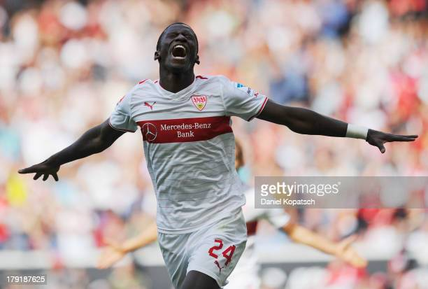 Antonio Ruediger of Stuttgart celebrates his team's first goal during the Bundesliga match between VfB Stuttgart and 1899 Hoffenheim at MercedesBenz...