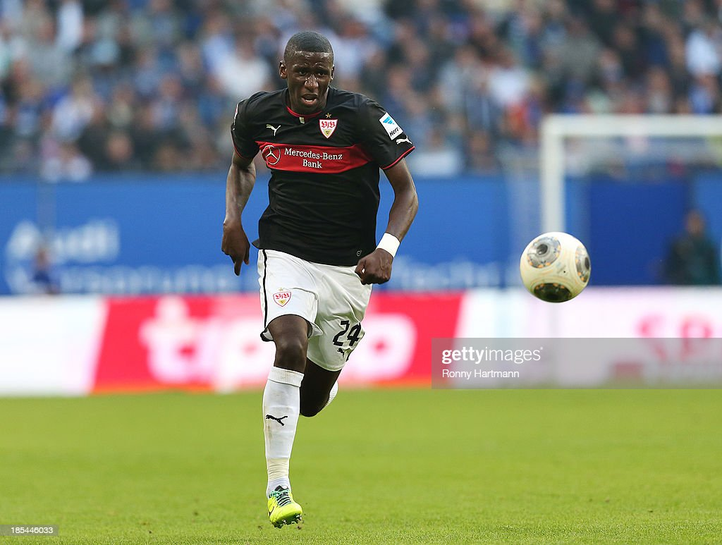Antonio Ruediger of Stuttgart runs with the ball during the Bundesliga match between Hamburger SV and VfB Stuttgart at Imtech Arena on October 20, 2013 in Hamburg, Germany.