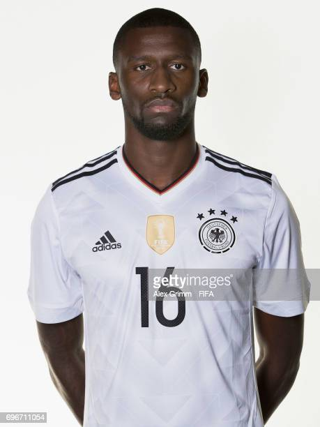 Antonio Ruediger poses for a picture during the Germany team portrait session on June 16 2017 in Sochi Russia
