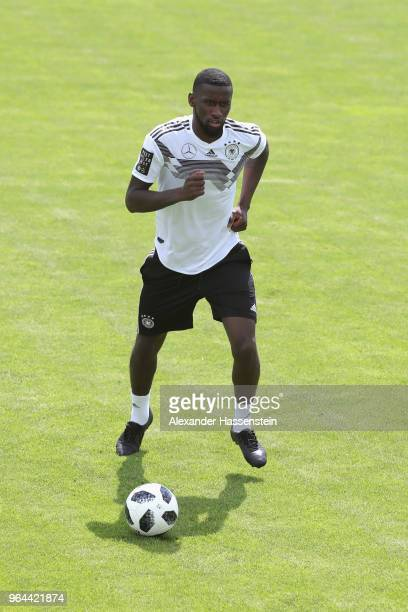 Antonio Ruediger runs with the ball during a training session of the German national team at Sportanlage Rungg on day nine of the Southern Tyrol...