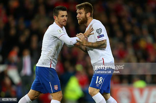 Antonio Rukavina of Serbia and Aleksandar Katai of Serbia during the FIFA 2018 World Cup Qualifier between Wales and Serbia at Cardiff City Stadium...