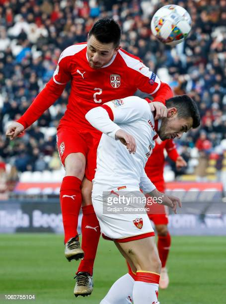 Antonio Rukavina of Serbia in action against Vladimir Jovovic of Montenegro during the UEFA Nations League C group four match between Serbia and...