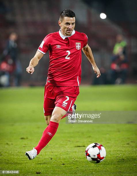 Antonio Rukavina of Serbia in action during the FIFA 2018 World Cup Qualifier between Serbia and Austria at stadium Rajko Mitic on October 9 2016 in...
