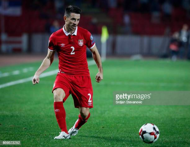 Antonio Rukavina of Serbia in action during the FIFA 2018 World Cup Qualifier between Serbia and Georgia at stadium Rajko Mitic on October 9 2017 in...