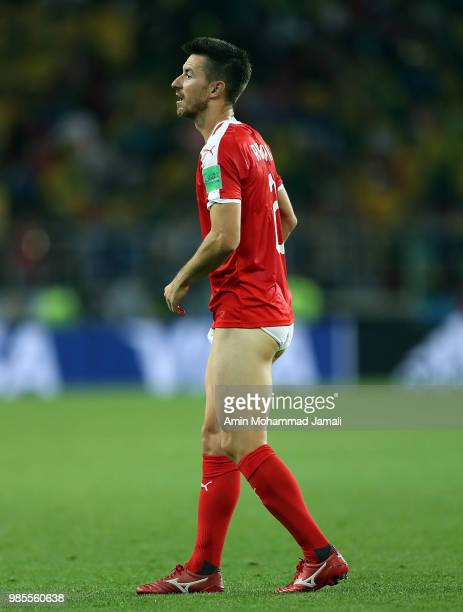 Antonio Rukavina of Serbia is seen about to give his shorts to a fan during the 2018 FIFA World Cup Russia group E match between Serbia and Brazil at...