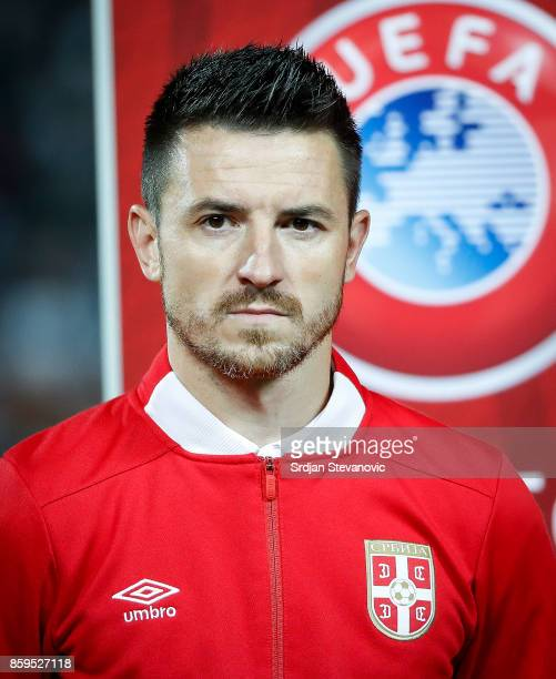 Antonio Rukavina of Serbia looks on prior to the FIFA 2018 World Cup Qualifier between Serbia and Georgia at stadium Rajko Mitic on October 9 2017 in...