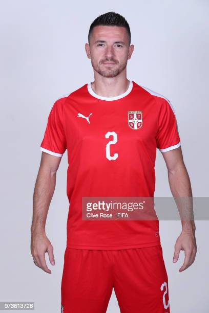 Antonio Rukavina of Serbia poses for a portrait during the official FIFA World Cup 2018 portrait session at the Team Hotel on June 12 2018 in...