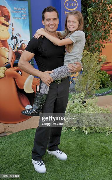 Antonio Sabato Jr and daughter Mina arrive at the Los Angeles Premiere of 'The Lion King 3D' at the El Capitan Theatre on August 27 2011 in Hollywood...