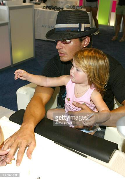 Antonio Sabato Jr and daughter Mina during Avon at the Silver Spoon Hollywood Buffet Day Two at Private Estate in Los Angeles California United...