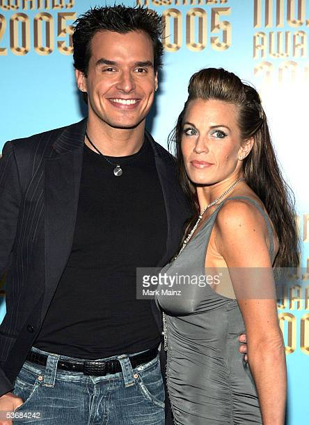 Antonio Sabato Jr and guest arrive at the 2005 World Music Awards at the Kodak Theatre on August 31 2005 in Hollywood California