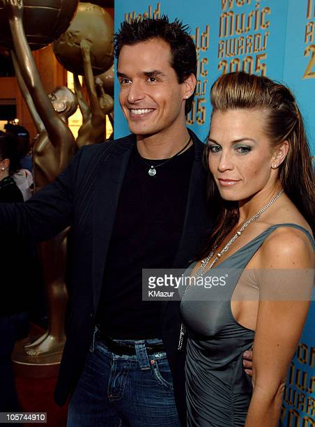 Antonio Sabato Jr and guest during 2005 World Music Awards Red Carpet at Kodak Theatre in Los Angeles CA United States