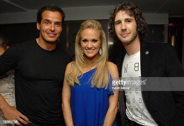 Antonio Sabato Jr Carie Underwood and Josh Groban attend 2007 Fashion Rocks / Belvedere Vodka After Party at The Rainbow Room on September 6 2007 in...