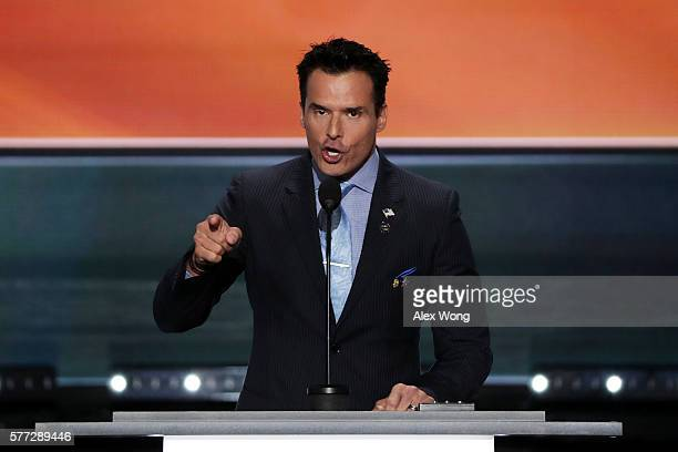 Antonio Sabato Jr delivers a speech on the first day of the Republican National Convention on July 18 2016 at the Quicken Loans Arena in Cleveland...